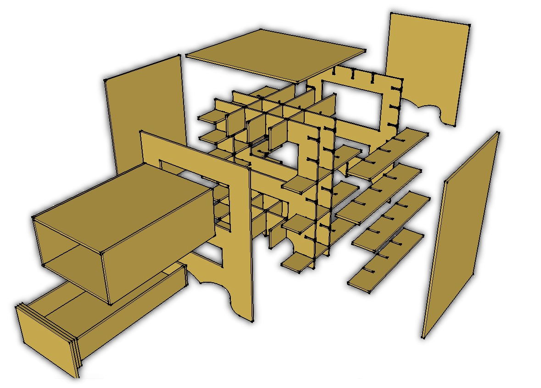 armoire en carton fabrication etape croisez les traverses. Black Bedroom Furniture Sets. Home Design Ideas